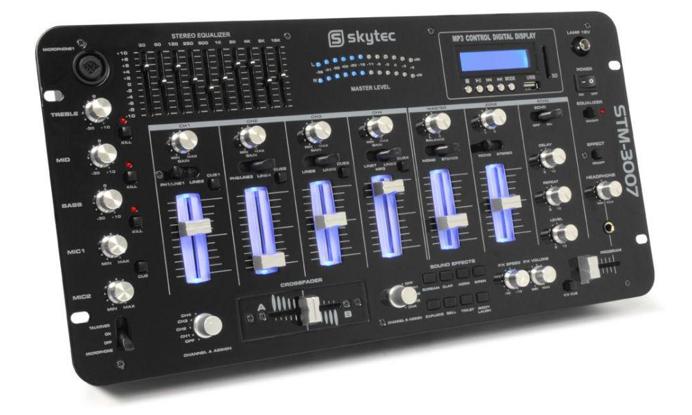 """Compra skytec stm-3007 mezclador 6 canales sd/usb/mp3/led/bluetooth 19\\"""" al mejor precio"""