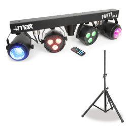 Compra max partybar barra con 2 focos par 3 leds 4-en-1 rgbw + 2 jellymoon al mejor precio