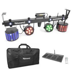 Compra beamz showbar con 2x foco par 6x 4en1 2xbutterfly, laser r/g dmx irc al mejor precio