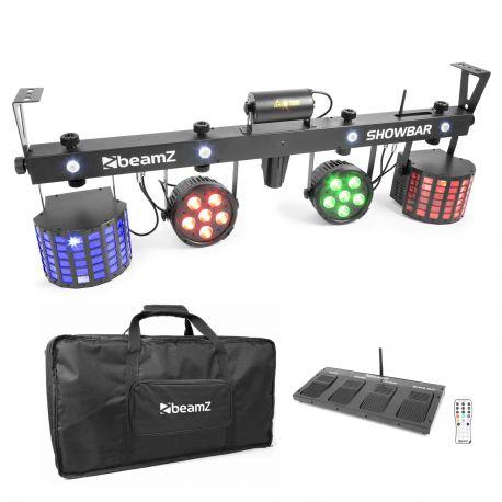 beamz showbar con 2x foco par 6x 4en1 2xbutterfly, laser r/g dmx irc