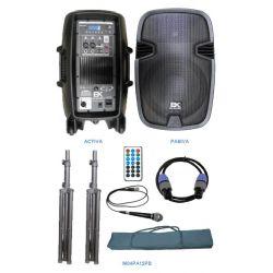 """EK Audio M03PA12PB Equipo completo de 12"""" activo-pasivo 400W con soportes, cables y funda"""