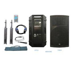 """EK Audio M03PA15PB Equipo completo de 15"""" activo-pasivo 800W con soportes, cables y funda"""