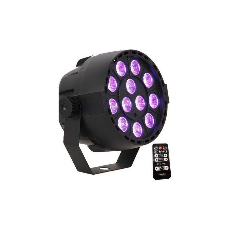 Compra IBIZA LIGHT PAR-MINI-RGB3 Foco LED 12 x 3W / 7 canales DMX y mando a control al mejor precio