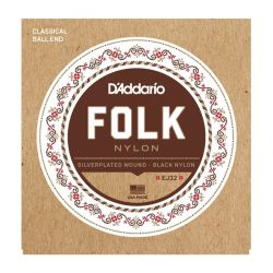 daddario ej32 folk nylon, ball end, silver wound/black nylon