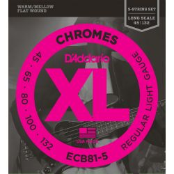 daddario ecb81-5 chromes bass 5-string, light, long scale [45-132]