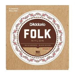 daddario ej34 folk nylon, ball end, 80/20 bronze/black nylon