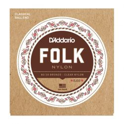 daddario ej33 folk nylon, ball end, 80/20 bronze/clear nylon
