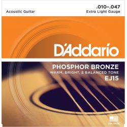 DADDARIO EJ15 PHOSPHOR BRONZE EXTRA LIGHT [10-47]