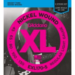 daddario exl170-5 5-string bass, regular light long scale [45-130]