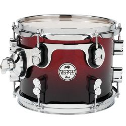 DW PDP Red to Black Sparkle Fade Toms Concept Maple