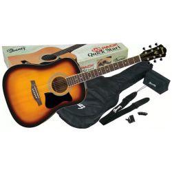 Compra Pack Guitarra Acustica ibanez v50njp-vs jam pack - vintage sunburst con descuento