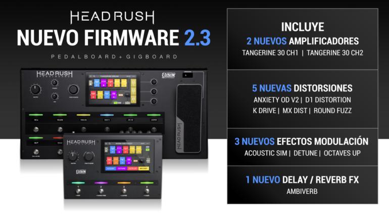 Actualizacion 2.3 para HeadRush Pedalboard y GigBoard