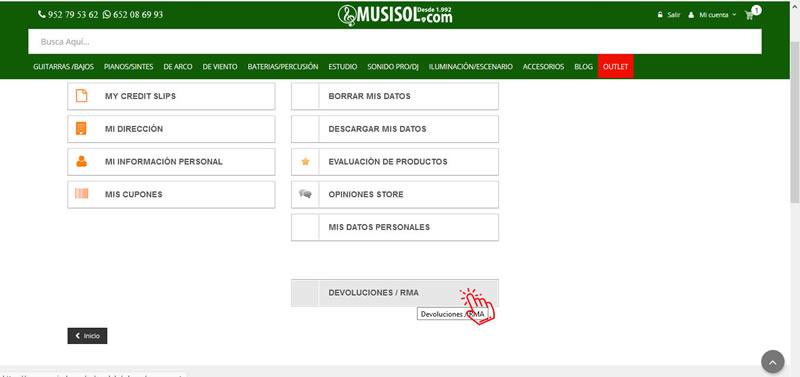 paso 1, proceso devoluciones en MUSISOL.COM