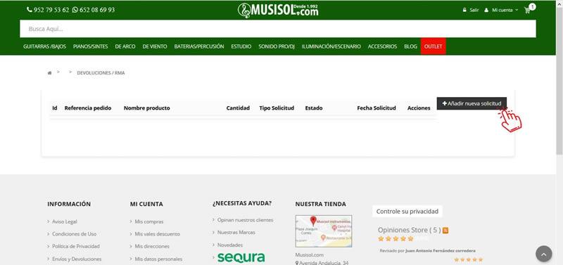 Paso 2, proceso devoluciones en MUSISOL.COM